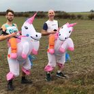 Paul Haynes and Phil Martin dressed as unicorns for the Royston Runners lockdown bingo event.
