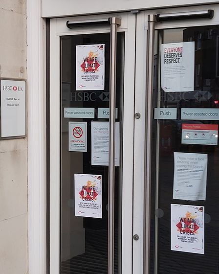 St Albans' HSBC branch was targeted in the XR protest on Friday. Picture: Supplied by Nigel Harvey