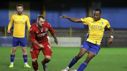 David Noble looks on at Munashe Sundire in action for St Albans City against Hungerford Town. Picture: PETER SHORT