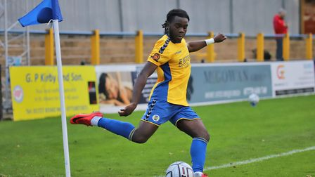 Romeo Akinola in action for St Albans City against Hungerford Town. Picture: PETER SHORT