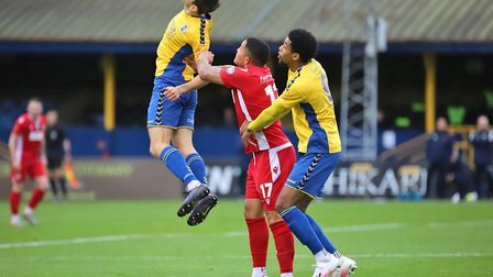 Mitchell Weiss and Shaun Jeffers in action for St Albans City against Hungerford Town. Picture: PETER SHORT