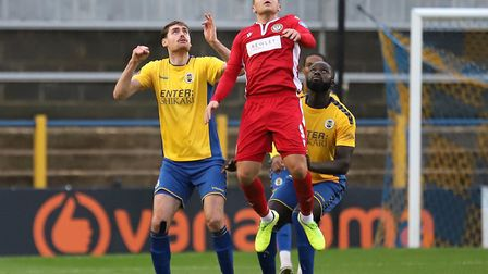James Kaloczi and David Diedhiou in action for St Albans City against Hungerford Town. Picture: PETER SHORT