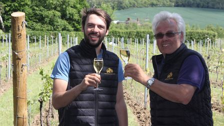Left to right: Dan Turner, vineyard manager, and Paul Edwards, owner. Photo: Supplied by Nick Edwards.