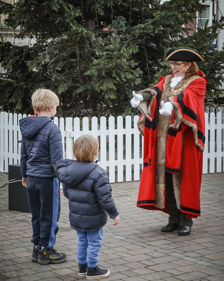 Saffron Walden Mayor, Cllr Heather Asker, asks the children if they can count backwards from 10 for the Christmas lights...