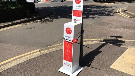 Sanitiser stations across Harpenden town centre have been targeted by vandals over recent weeks. Picture: Harpenden Town...