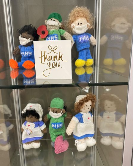 Retired primary school teacher has knitted dolls for Hinchingbrooke Hospital staff PICTURE: Hinchingbrooke Hospital