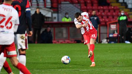 Danny Newton bagged what turned out to be the winner for Stevenage in their League Two match with Port Vale. Picture...