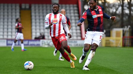 On-loan QPR striker Aramide Oteh says he is finding his feet at Stevenage. Picture: DAVID LOVEDAY/TGS PHOTO