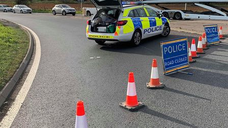 There are delays after a crash on the A505. Picture: Policing Fenland
