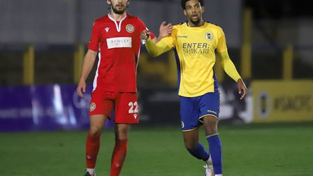 Shaun Jeffers opened the scoring for St Albans City away to Eastbourne Borough in National League South. Picture: PETER SHORT