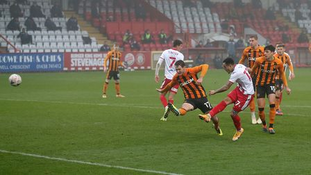 Elliott List of Stevenage scores against Hull City in the FA Cup second round. Pictures: GAVIN ELLIS/TGS PHOTO