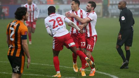 Elliott List of Stevenage scores the first goal for his team and celebrates during Stevenage vs Hull City, Emirates FA Cup...