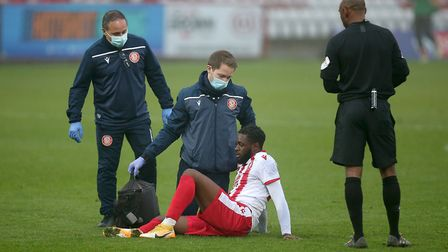 Injury concern for Aramide Oteh of Stevenage during Stevenage vs Hull City, Emirates FA Cup Football at the Lamex Stadium...