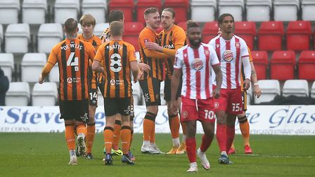 Tom Eaves of Hull City scores the first goal for his team and celebrates with his team mates during Stevenage vs Hull...