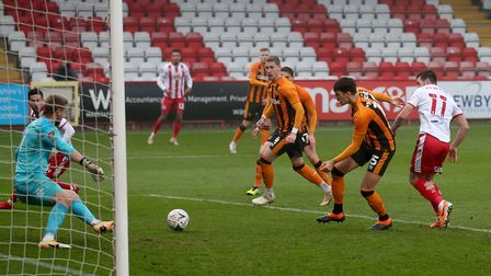 Danny Newton of Stevenage goes close during Stevenage vs Hull City, Emirates FA Cup Football at the Lamex Stadium on 29th...