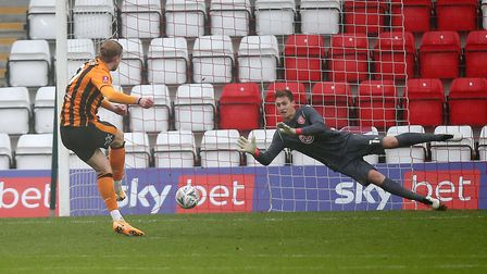Tom Eaves of Hull City scores the first goal for his team from the penalty spot during Stevenage vs Hull City, Emirates FA...