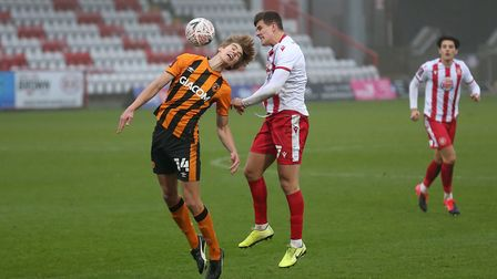 Martin Samuelsen of Hull City and Charlie Carter of Stevenage during Stevenage vs Hull City, Emirates FA Cup Football at...