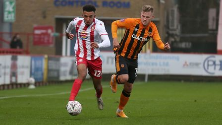 Remeao Hutton of Stevenage evades James Scott of Hull City during Stevenage vs Hull City, Emirates FA Cup Football at the...