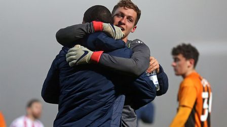 Jamie Cumming of Stevenage celebrates victory in the penalty shoot-out during Stevenage vs Hull City, Emirates FA Cup...