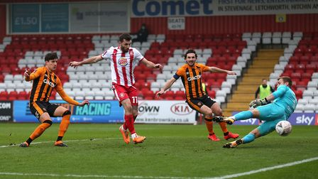Danny Newton of Stevenage goes close during the win over Hull City in the FA Cup. Picture: GAVIN ELLIS/TGS PHOTO