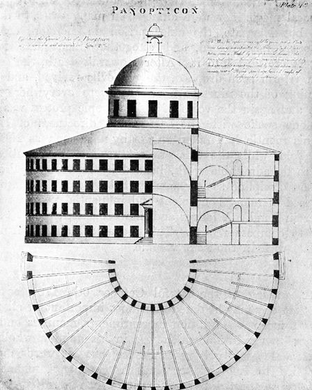 Drawing of a prison design called a panopticon, from the book 'Management of the Poor' by philosopher Jeremy Bentham