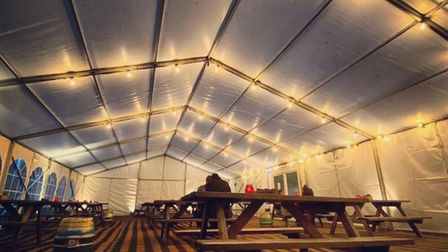 The marquee at The Black Horse in Norwich