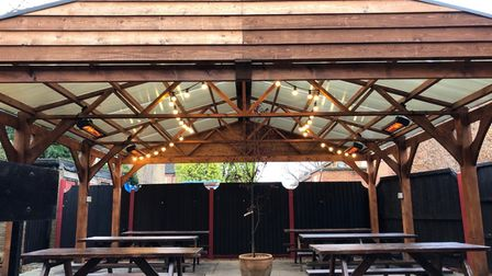 The outdoor seating area at The Fat Cat Brewery Tap, which is heated