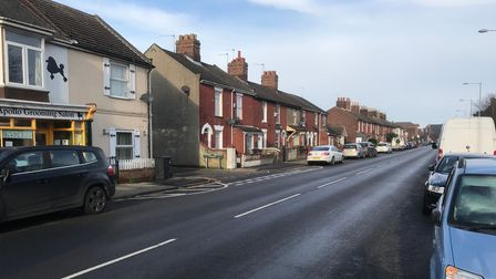 Terraced houses on Northgate Street in Great Yarmouth