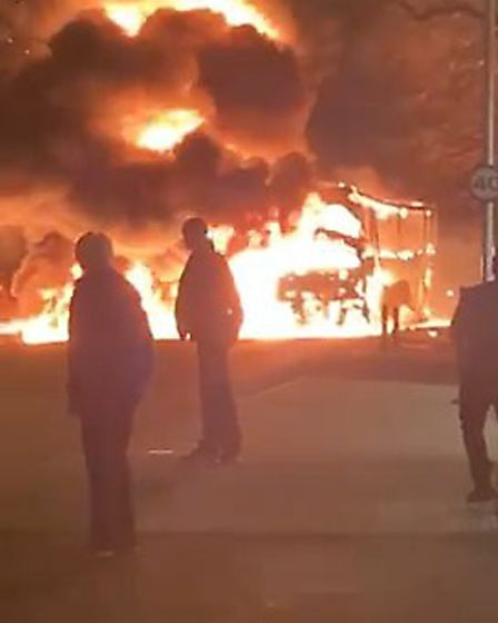 Lorry on fire outside Esso garage last night PICTURE: Liam Mooney