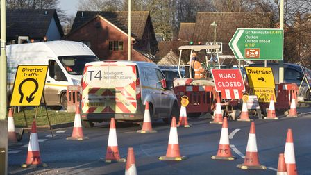 Essex And Suffolk Water are carrying out repair works close to the roundabout on Bloodmoor Road, Lowestoft with the road...