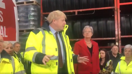 Boris Johnson addresses an audience at a Nissan factory
