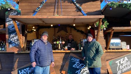(L to R) Eddie McGee, Mark Ruby and Shaun James at the bar in the Après Ski Village in Norwich's Castle Gardens. Picture...