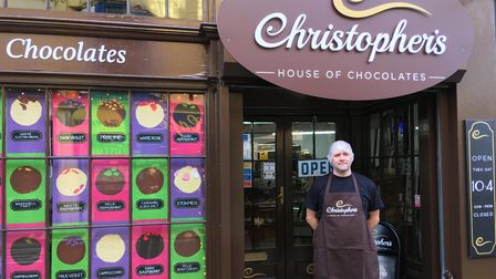 Christopher Hawkins outside Christopher's House of Chocolates.