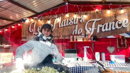 Lucie Ferrer at her French food stall in the Après Ski Village in Castle Gardens Picture: Ella Wilkinson