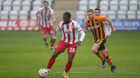 Aramide Oteh scored with a penalty for Stevenage against Walsall. Picture: GAVIN ELLIS/TGS PHOTO