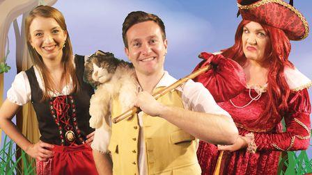The cast of Market Theatre's Dick Whittington - A virtual Christmas Show - Kelly Bibb, Nick Hooton and Carrie Bunyan.