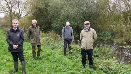 Herts and Middlesex Wildlife Trust conservation manager Tim Hill, Paul Barnes, John Pritchard from the Ver Valley Society...