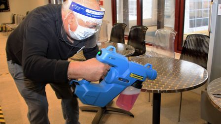 Anti-microbrial spray was used to sanitise furniture at Melbourn Community Hub. Picture: Clive Porter