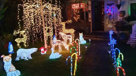 The festive display on Colney Heath Lane before it was targeted by vandals on Tuesday. Picture: Narinder Israel