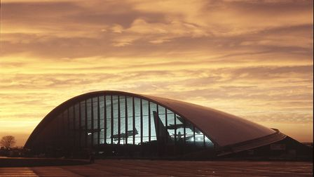 Sunset view of the American Air Museum at IWM Duxford. Picture: IWM American Air Museum IWM Duxford / Andy Anderson