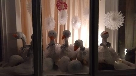Heather Chambers, from Scotts Crescent, in Hilton, sent in her photo of Six Geese a Laying. Villagers are decorating homes...
