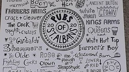 Hannah Sessions has a range of special limited editon tea towels, including ones with St Albans pubs on. Picture: Hannah...