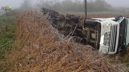 Lorry overturned in Ramsey PICTURE: Cambridgeshire Police