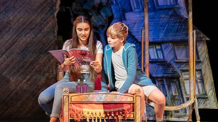 Asha Banks as Lisa James and Jackson Laing as Dennis in The Boy in the Dress at the Royal Shakespeare Theatre in...