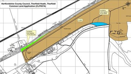 The application is to deregister a section of Therfield Health land (in green) and register the blue area as common land.