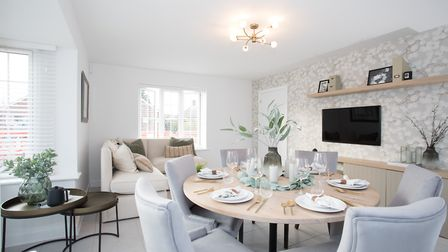 Large dining room in show home at Meldreth development