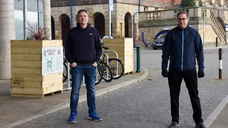 New bike racks in Ipswich are being put up for cyclists. Paul West and Carl Ashton