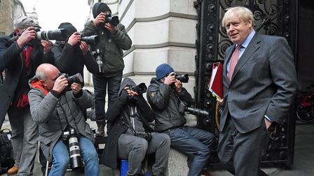 Prime Minister Boris Johnson in Downing Street, London, after leaving a Cabinet meeting at the Forei