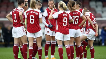 Arsenal's Jill Roord (centre) and team-mates huddle before the FA Women's Super League match at Meadow Park, Borehamwood.