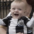 A still from We Are The Geordies documentary Baby Bobby celebrating